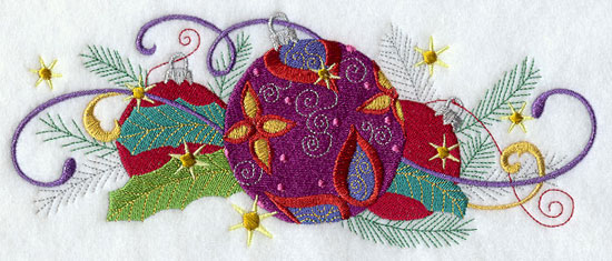 Metallic thread Christmas ornament border machine embroidery design.