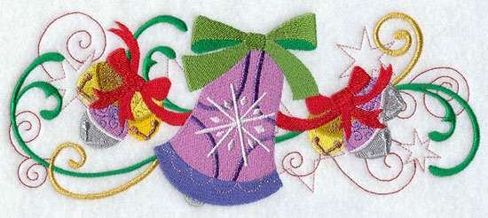 Metallic thread Christmas bell border machine embroidery design.