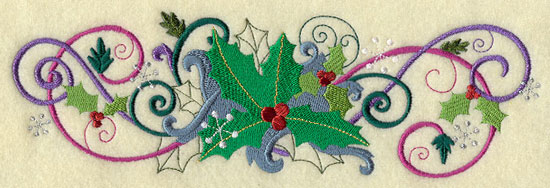 Metallic thread Christmas holly border machine embroidery design.