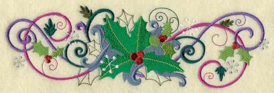 Metallic thread Christmas holly border machine embroidery design.