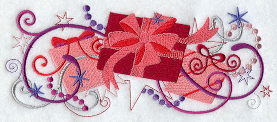 Metallic thread Christmas gift border machine embroidery design.