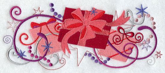 Metallic thread Christmas gift border machine embroidery design.