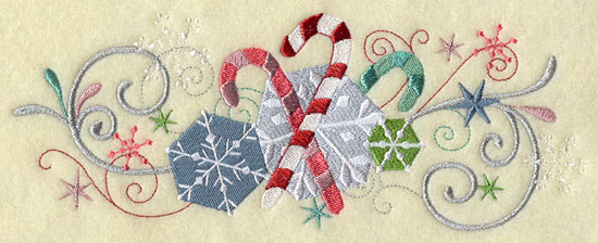 Metallic thread Christmas candy cane and snowflake border machine embroidery design.