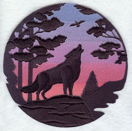 Wolf silhouette at sunset machine embroidery design
