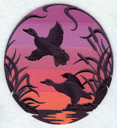 Mallards silhouette at sunset machine embroidery design