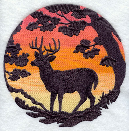 Deer silhouette at sunset machine embroidery design