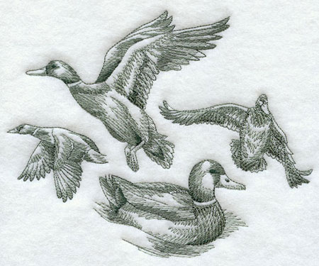 Sketchbook style mallards machine embroidery design