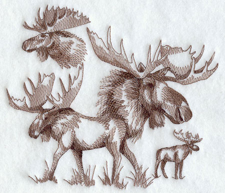 Sketchbook style moose machine embroidery design