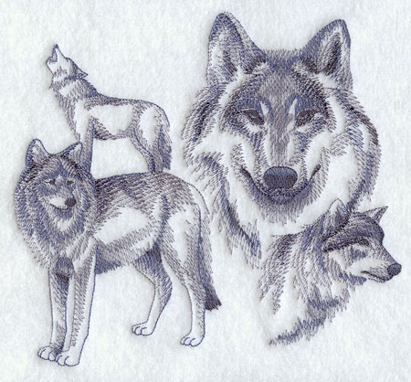 Sketchbook style wolves machine embroidery design