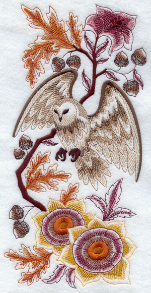 Delft owl and autumn foliage machine embroidery design