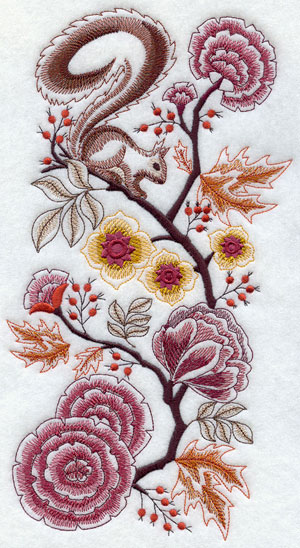 Delft squirrel in autumn foliage machine embroidery design
