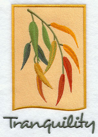 Leaves and tranquility panel machine embroidery design