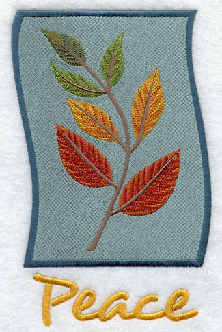 Leaves and peace panel machine embroidery design