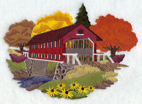 Covered bridge in autumn machine embroidery design