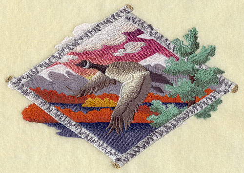 Canada goose flying in autumn machine embroidery design