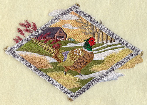 Pheasant in winter country machine embroidery design