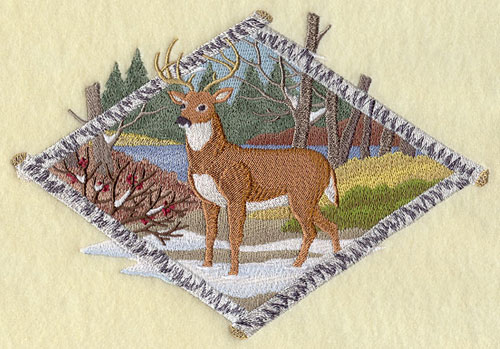 Deer in winter woods scene machine embroidery design