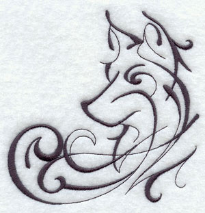 Wolf corner machine embroidery design