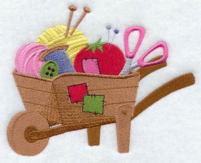 Wheelbarrow of sewing supplies machine embroidery design