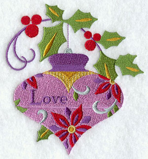 A Christmas ornament and holly machine embroidery design.