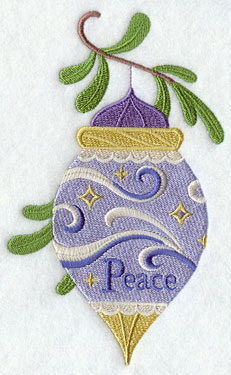 A peace Christmas ornament machine embroidery design.