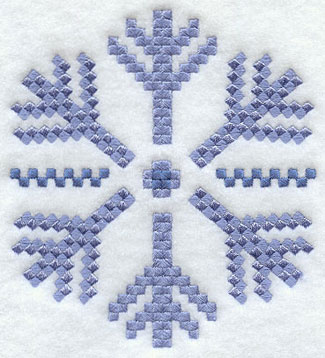A blue snowflake in a cross stitch pattern crafty collectible machine embroidery design.