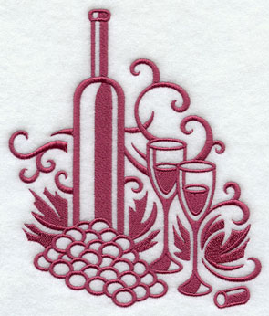 A damask wine and grape machine embroidery design.