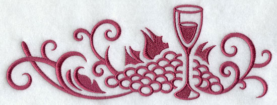 A damask wine and grape border machine embroidery design.