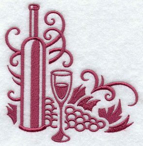 A damask wine and wineglass corner machine embroidery design.