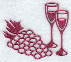 A damask wineglass and grapes accessory machine embroidery design.