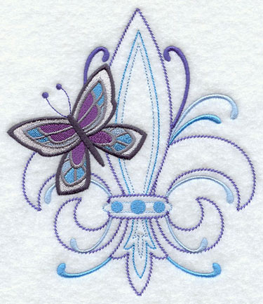 A butterfly and fleur de lis machine embroidery design.
