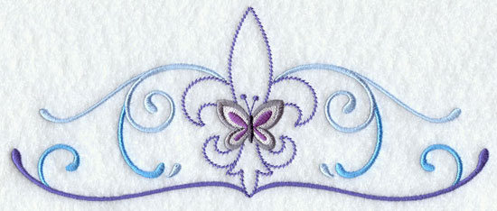 A butterfly and fleur de lis border machine embroidery design.
