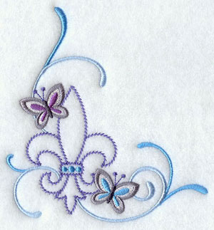 A butterfly and fleur de lis corner machine embroidery design.
