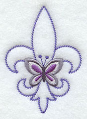 A butterfly and fleur de lis accessory machine embroidery design.