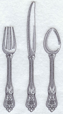Sketchbook style antique fork, knife, and spoon machine embroidery design.