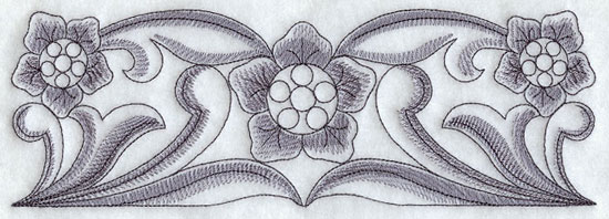 Sketchy floral border machine embroidery design.