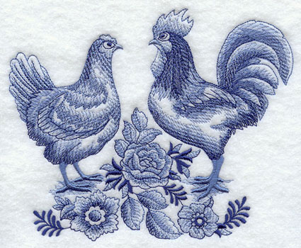 Delft Blue hen and rooster machine embroidery design.