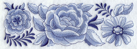 Delft Blue floral border machine embroidery design.