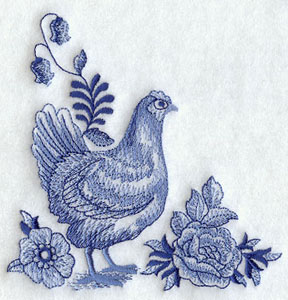 Delft Blue hen and flowers corner machine embroidery design.