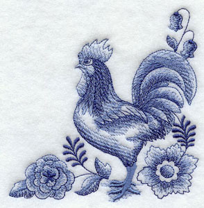 Delft Blue rooster and floral corner machine embroidery design.