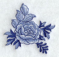 Delft blue rose corner machine embroidery design.