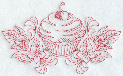 A redwork cherry cupcake and flower machine embroidery design.