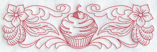 A redwork cherry cupcake and floral border machine embroidery design.