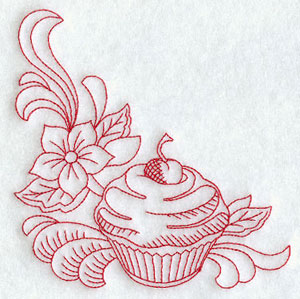 A redwork cherry cupcake and flower corner machine embroidery design.