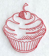 A redwork cherry cupcake and flower accessory machine embroidery design.