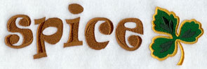 The word 'Spice' with a coriander leaf machine embroidery design.