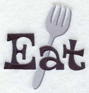 The word 'Eat' and a fork machine embroidery design.