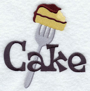 The word 'Cake' and a fork holding a piece of cake machine embroidery design.