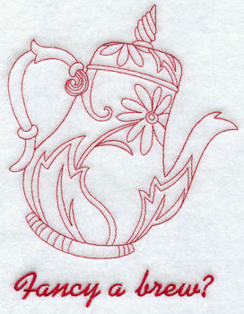 A redwork 'fancy a brew?' teapot machine embroidery design.