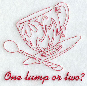 A redwork 'one lump or two?' tea cup machine embroidery design.